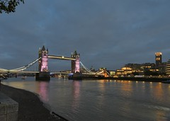 Tower Bridge at dusk (gillybooze) Tags: allrightsreserved bridge thames river sky lights water reflections london vista clouds