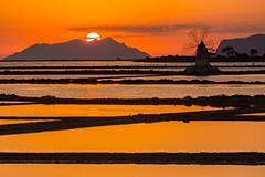 Marsala (Philippe POUVREAU) Tags: 2016 italie sicile sicily sunset windmill moulin soleil saltpans trapani ciel sky sel maraissalant marsala landscape water moulinvent sun