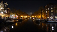 Brouwersgracht boats and lights (steeedm) Tags: amsterdam brouwersgracht canal lights streetlights boats houseboat trees autumn