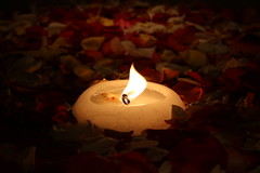Candle (Takoune) Tags: candle fire flower petals center passion flame red light dark lit wax intimate relax zen smoke burn love hate lust romance forbidden beginning end