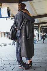 Let's travel the world together (neus_oliver) Tags: couple love together train station romance hug embrace boyfriend girlfriend chic fashion platform