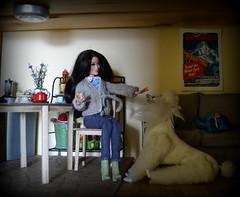 Raquelle (pe.kalina) Tags: barbie dolls doll dollhouse coffe diorama roombox dream house fashionistas raquelle dog poodle mattel miniature
