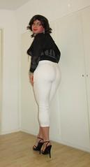new white trousers (Barb78ara) Tags: trousers tightpants tighttrousers whitetrousers blacktop heels highheels sandals stilettoheels officewear officegirl secretary tgirlsecretary