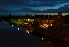 Hereford river Wye (technodean2000) Tags: hereford night along river wye town city pub houses blue hour