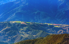 Village under Mountain, Taiwan..... (Evo-PlayLoud) Tags: canoneos550d canon550d canon 550d efs18135mmf3556 efs 18135mm 18135mmkit mountain mountains landscape scenery mtsyue taichung taiwan blue          wulingfarm      green village