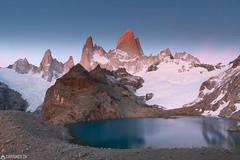 Good morning Fitz Roy - El Chalten (Captures.ch) Tags: 2016 alpenglow argentina black blue brown bushes captures dawn december elchalten fitzroy glacier gray ice laguna lagunadelostres lake landscape morning mountains nature orange panorama red sky snow southamerica stones travel trees water white yellow