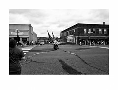 The V.F.W. Honor Guard / Color Guard, Labor Day Parade, Cloquet, Minnesota, September, 2016 (Richard C. Johnson: AKA fishwrapcomix) Tags: leicaq summilux28mm f17 wetzlar reddot paxamericanus endofempire civisromanussum spqr digital duluth blackandwhite bw monochrome cloquet aflcio minnesota laborday unions economicdownturn thegreatrecession smalltown sunsetsinthewest street parade flags military veterans patriotism photoborder whitebackground
