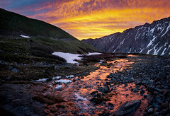 Snow Stream (BernieErnieJr) Tags: stevensgulch georgetown colorado carlzeiss2470mm clouds sunrise frontrange mountains mountain stream creek snow torreyspeak14267feet grayspeak14270feet sonya99 sun sunshine outdoors water reflection greatphotographers teamsony rockymountains