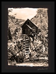 Crystal Mill CO 2000-1-010a bwF (the Gallopping Geezer '5.0' million + views....) Tags: old mountains building mill abandoned film rural canon colorado 2000 crystal decay scenic scene structure historic mining faded worn weathered ladder marble wilderness decayed geezer rockie powerhouse corel photogenic sheepmountain