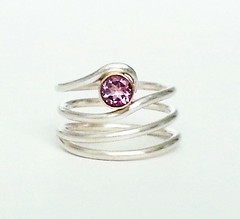 Pink Tourmaline Ring (Rebecca Geoffrey) Tags: silver gold rebecca handmade ring metalwork geoffrey tourmaline peridot gemstone gemstonering