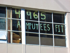 Amputees Fit, San Francisco, CA (Robby Virus) Tags: sanfrancisco california window sign fit frisco amputees 4965