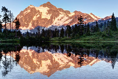 Mt. Shuksan from Picture Lake (Patrick Lundgren) Tags: road park blue trees sunset sky mountain lake snow reflection green ice water america forest canon mirror golden washington still scenery rocks long exposure glow mt baker state heather united picture meadows sigma calm glacier alpine national hour 1750 states shuksan landscaspe 60d