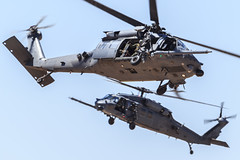 """Sikorsky HH-60G Pave Hawks of the 55th Rescue Squadron """"Night Hawks"""" from Davis-Monthan AFB (Norman Graf) Tags: night aircraft airshow helicopter blackhawk usaf hawks nighthawks sikorsky pavehawk unitedstatesairforce rotorcraft davismonthanafb h60 hh60g rotarywingaircraft 55threscuesquadron 55rqs 2014thunderlightningoverarizona"""