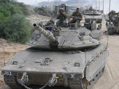 Israeli Armored Corps Near the Gaza Border