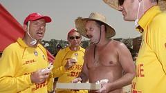 Tony Abbott pitching in and enjoying a sausage sandwich at Queenscliff Surf Club (foodforpolitics) Tags: australia funnyhats moobs tonyabbott