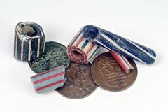 """Beads and """"VOC duiten"""" from Zeeland (hans0621) Tags: glass coin zeeland bead middelburg zeelandia voc westerschelde duit 16th18thcentury"""