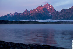 Sunrise over Jackson Lake and the Grand Tetons (George Mullinix) Tags: light mountains water forest canon stars prime jackson astrophotography 24mm wyoming grandtetons 1635mm starlapse