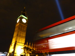 London Spectra by London Spectra by Ryoji Ikeda, Westminister, Sat 9th Aug 2014 (PaChambers) Tags: city uk england sky urban bus lights evening amazing europe unitedkingdom wwi bigben august gb routemaster britian westminister housesofparliment newbusforlondon tz60 summer2014 londonspectra