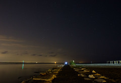 lucky surprise (Zero in Condotta) Tags: light sea black night canon stars landscape mare time blu lagoon l luci laguna tempo nero notte paesaggio stelle ble 60d