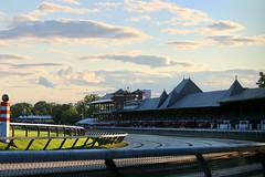 Saratoga Sunset (kimpossible pics) Tags: horse newyork clouds racetrack saratoga sunsets saratogasprings jockey horseracing racehorse thoroughbred equine saratogaracetrack