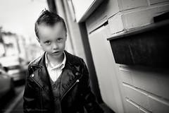 My little Jimmy Dean ;) (Sylvain_Latouche) Tags: street portrait blackandwhite eye look hair lens ambientlight alix jamesdean perfecto 35mmf14 nikond800 sylvainlatouche