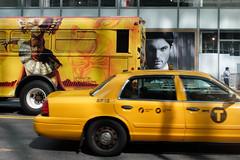 many faces of new york city (ho_hokus) Tags: newyorkcity newyork bus unitedstates faces manhattan taxi billboard advertisement advert adventures lionking x20 42ndstreet 2014 fujix20 fujifilmx20