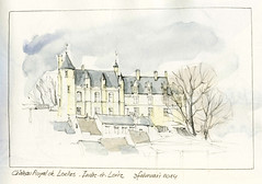 Loches, Indre-et-Loire, France (Linda Vanysacker - Van den Mooter) Tags: france castle art pencil sketch drawing aquarelle dessin watercolour frankrijk crayon acuarela chteau aquarel kasteel croquis tekening aquarell loches acquerello schets potlood indreetloire akvarell vanysacker visiblytalented vandenmooter lindavanysackervandenmooter lindavandenmooter