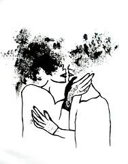 daltie traipi (notekcaurule) Tags: blackandwhite art illustration sketch kiss drawing touch