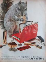 Squirrel with a purse (Piemouth) Tags: life vintage ads squirrel wallet peanut nut vermin 1959