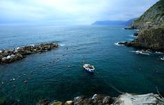 ? Bonding  ~ Riomaggiore   @ Cinque Terre  ()~ (PS~~) Tags: ocean santa blue summer vacation sky italy sun holiday sea