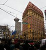 Remembrance Day Dominion Bldg Van16h03 (CanadaGood) Tags: canada britishcolumbia bc vancouver downtown remembranceday people person 2016 thisdecade canadagood colour color green red building hastingsstreet dominionbuilding harbourcentre