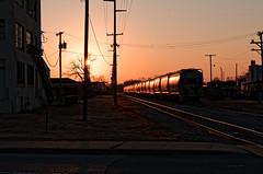 sunset in the train yard (fallsroad) Tags: sun sunset train railroad tulsaoklahoma city urban industrial nikond7000 sky