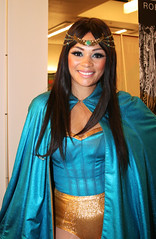 Smiling Woman in Blue Costume (shaire productions) Tags: lady woman portrait girl female person costume cosplay sfevent sfcomiccon comiccon image fantasy fiction fictional character smile goddess beauty blue aqua superhero heroine smiling