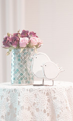 Romantic (judith511) Tags: odc lace lacy stilllife roses ornaments vase table lacetablecoth crochet