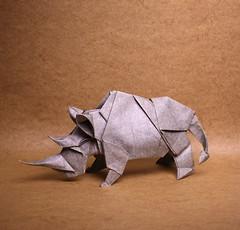 Rhinoceros (IG: bartfartsart) Tags: origami paper art hobby interest fun safari animal rhinoceros wildlife