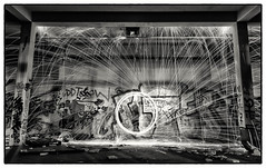 graffiti wall (Simhai) Tags: night black white steel wool graffiti wall exposure canon light factory building