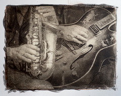 Alto sax and guitar (paul verbunt1729) Tags: gomdruk gumbichromate multilayergum jazz altprocess alternativeprocesses