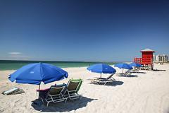 Beach at Sand Key (wyojones) Tags: florida sandkey countypark sandkeybeach sand umbrellas lifeguardtower water waves beach gulfofmexico gulf