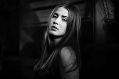 A photograph..... (fehlfarben_bine) Tags: portrait woman contrast monochrome expression naturallight berlin nikondf 850mmf14 jfc