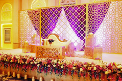 Stage with florals and Frame (Purrple Orryx) Tags: weddings wedding engagement setup ceremony fabrication staging backdrop decor decoration centrepc florals arch lighting av technical production jumeirah madinat 2016 october