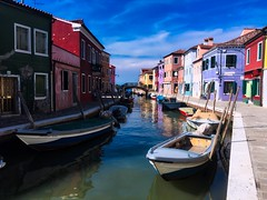 Burano wandering - iPhone (Jim Nix / Nomadic Pursuits) Tags: jimnix nomadicpursuits travel italy europe venice burano fishingvillage boats fishermen clouds colors architecture canals