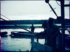 Draining a carp pond (Michael Wögerbauer) Tags: southbohemia fisherman mamiya645protl mamiya sekor8028 rollei crossbird200 czechrepublic colour color farbe fishing krčín mazelov