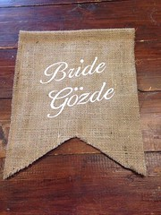 Bride & Groom (Emma Bunting) Tags: embroidered embroidery hessian burlap wedding decoration chair back bunting emma bride groom vintage rustic