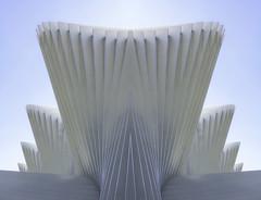 the crown (Karl-Heinz Bitter) Tags: architektur abstract abstrakt calatrava architecture sky himmel linien lines fcher weiss photoshop gespiegelt highkey