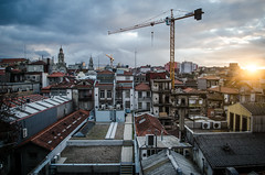 Porto (.noctifer) Tags: porto portugal europe sky sun sunrise day building houses house buildings city outdoor crane clouds architecture