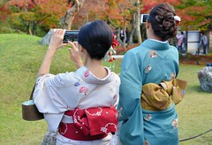 Kodai-ji Kimono (jpellgen) Tags: karsansui garden japan japanese nihon nippon kodaiji temple buddha buddhist buddhism nikon nikkor kyoto kinki kansai honshu spring zen rinzai higashiyama 高台寺 京都 日本 東山区 asia sigma 1770mm d7000 2016 women woman girl girls kimono autumn leaves leaf koyo momiji fall
