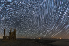 Star Trails Over an Abandoned Pier at the Salton Sea (slworking2) Tags: saltoncity california unitedstates us startrails starstax saltonsea night sky nighttime desert abandoned urbex