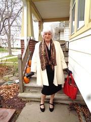 Heading Out (Laurette Victoria) Tags: woman purse silver laurette coat gloves scarf
