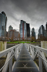 Coal Harbour (Romain Collet) Tags: vancouver bc canada british columbia winter fall clouds harbour dock city tower high rise dark sky