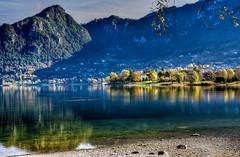 In chiaroscuro (giannipiras555) Tags: verde collina alberi autunno riflessi landscape ombre spiaggia idro nikon7100
